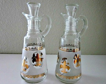 Vintage 1960s Anchor Hocking Gold Fleur-de-Lis and Frosted Glass Oil and Vinegar Cruets - Kitchen Collectible - Pair Cruets - Country French