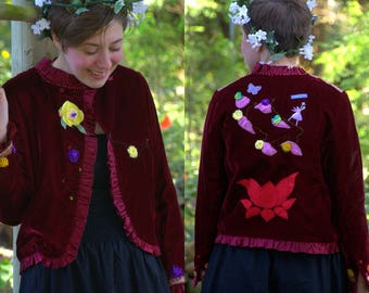 Upcycled Red Velvet Jacket -  Medium- Fairy Jacket - Ren Fair Coat - Hippie Coat - Boho Coat - Burning man - Romance - Repurposed - Handmade