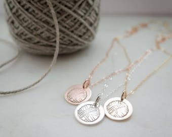 Knitting Jewelry - Ball of Yarn - Hand Stamped Jewelry by Betsy Farmer Designs - Sterling Silver, 14k Gold Fill, or Rose Gold Fill