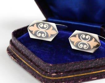 Vintage Art Deco 800 Silver & Rose Gold German Cufflinks in Original Velvet Box - 1930s Art Deco Two Tone Men's Accessory Germany Jewelry