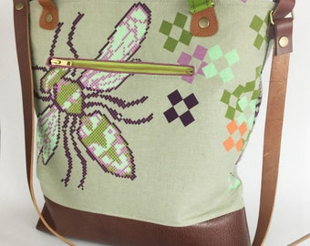 Canvas Bag/Crossbody Bag/Leather Canvas Bag/Canvas Tote/Melody Miller/Green/Grey/Purple/Melody Miller fabric