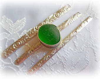Green Sea Beach Glass Sterling Silver Ring - Made to Order - Just for You