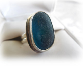Blue English Multi Sea Glass Sterling Silver Ring - US Size 6