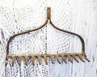Vintage Rake Head, Jewelry Necklace Holder, Wine Glass Holder, Garden Tool Holder