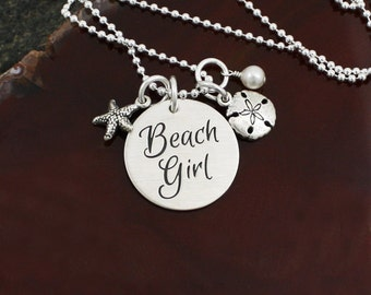 Beach Girl Necklace  -  Sterling Silver Necklace