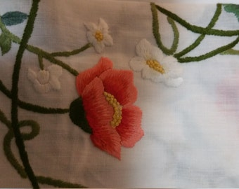 Loverly Floral Embroidery Tablecloth coral roses
