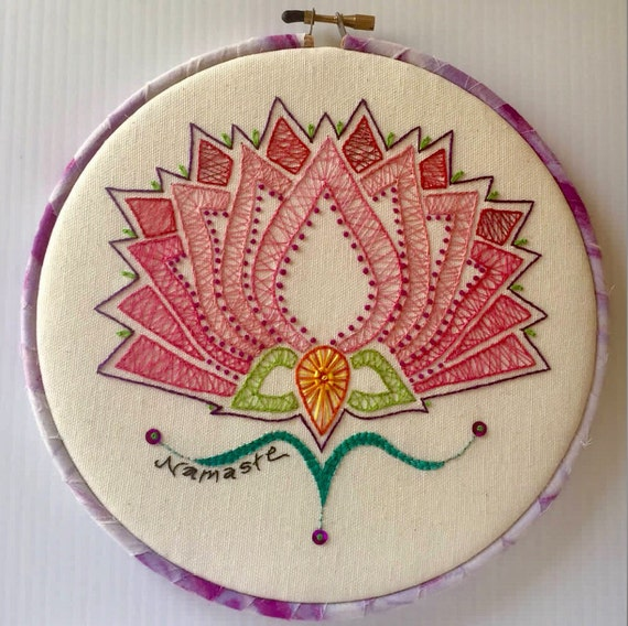 Pink Lotus Hand Embroidered Hoop Art