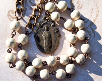 Our Lady of Lourdes and St. Louis Bronze Necklace