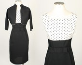 vintage POLKA DOTS black & white dress • early 1960s pinup dress set