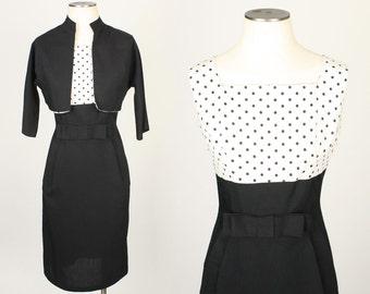 vintage POLKA DOTS black & white dress • early 1960s tailored set
