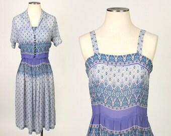 vintage 1940s dress • deco design blue sundress & class button jacket