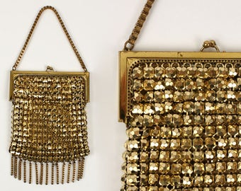 vintage whiting & davis purse • rare gold bubble metal mesh with bookchain handle