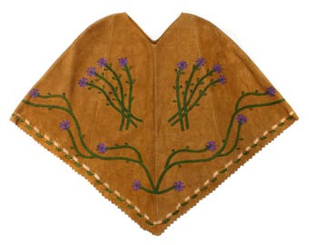 vintage 1970s cape • boho floral applique suede cape