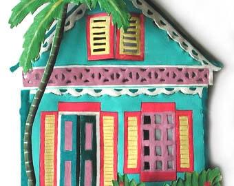Metal Wall Art - Metal Art - Caribbean House, Metal Wall Decor, Gingerbread House, Tropical Art Design, Painted Metal Wall Art - K-1002-TQ
