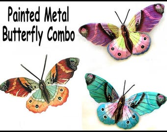 "3 Butterflies - Painted Metal Wall Art, Metal Wall Decor- 13"" Garden Art - Outdoor Metal Wall Art, Steel Drum Metal Art - 516-Combo"