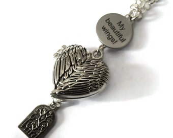 Kate Bush Locket Necklace - MY BEAUTIFUL WINGS - silver plated - Limited Edition of 6, 4 remaining - Etsy Uk