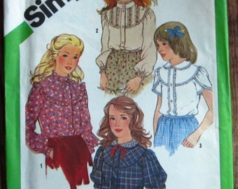 Vintage 1980s Girls Blouse with Sleeve Variations Size 12 Simplicity Pattern 5313 UNCUT