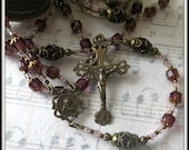 Sacred Heart of Jesus Rosary in Amethyst Cathedral Beads