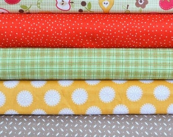 Farm Fresh Green Rootcellar 5 Fat Quarters Bundle by October Afternoon for Riley Blake, 1 1/4 yards