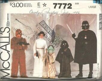 1980s Star Wars Costumes Yoda Jawai Princess Leia Chewbacca Darth Vader McCall's 7772 Uncut FF Child Sizes 12-14 Vintage Sewing Pattern