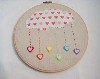 Hand Embroidered Heart Cloud with Hearts Felt Wall Hanging - Embroidery Hoop Wall Art - Wall Decor