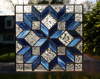 Stained Glass Sun Catcher Amish Carpenter's Wheel Quilt Block