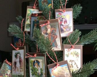 Handmade Christmas Ornaments - Wine Bottle Hangers - Gift Embellishments - Vintage Style Handmade Print