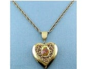 Vintage Heart Locket with Fragonard Romantic Lovers Plaque & Necklace