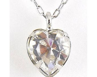 WELL'S Sterling Silver & Diamond Crystal APRIL Birthstone Pendant Necklace - Old Stock
