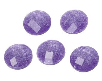 8 Purple Glitter Faceted Dome 10mm