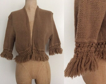 1970's Brown Cropped Fringe Cardigan Sweater Vintage Size Small Medium by Maeberry Vintage