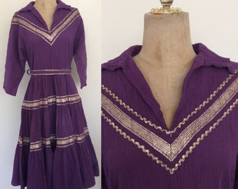 1950's Purple Mexican Patio Dress Vintage Rockabilly Retro Pin Up Size Small Medium by Maeberry Vintage