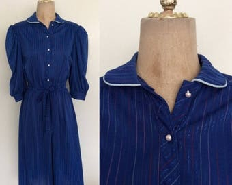 30% OFF 1970's Navy Blue Striped Cotton Poly Shirtwaist Dress Vintage Size Small Medium by Maeberry Vintage