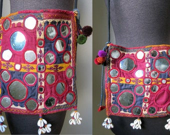 Fine Antique Kutch Banjara Mirror Embroidered Dowery Bag with Cowery Shell Dangles
