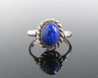 Sterling Silver & Blue Stone Ring - Vintage Unused, Size 6 1/4