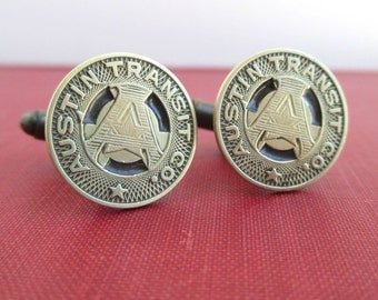 AUSTIN TX Transit Token Cuff Links - Vintage, Gold / Brass Coins, Upcycled
