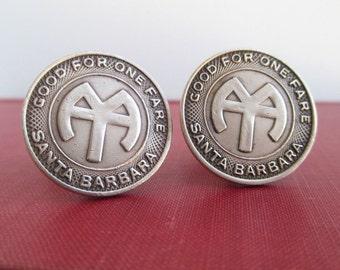 Santa Barbara, CA Transit Token Cuff Links - Repurposed Vintage Bronze Coins, Large