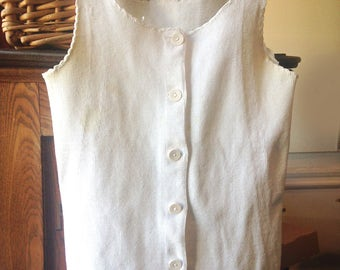antique victorian undershirt heavy cotton knit womens with buttons