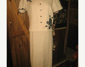 25% Off Sale Vintage Beige  Linen 2-PC Dress /SZ 6/Robbie Bee