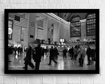 NYC Photography - Black and White Urban Wall Art, Abstract Office Decor, Grand Central Station Fine Art Print, NYC Urban Decor, BnW NYC