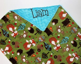 Woodland Animals Baby Blanket, PERSONALIZED Baby Blanket, Turquoise, Double Minky, Custom Blanket, Forest animals - Choose Your Colors