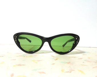 1950's Black Cat Eye Sunglasses Mod Cateye Vintage Sunglasses