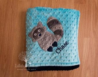 Raccoon Personalized Minky Baby Blanket, Woodland Raccoon Appliqued Minky Baby Blanket, Minky Baby Blanket, Raccoon Blanket