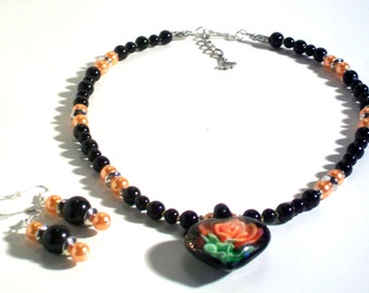 Heart Pendant, Black & Orange Pearl Necklace Set, Pendant Necklace Set, 2 Piece Set