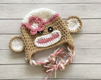 Pink sock monkey hat, newborn sock monkey hat, toddler sock monkey hat, newborn photo prop, toddler sock monkey hat,  newborn monkey hat