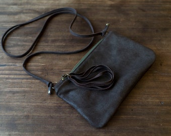 FOKS FORM Mi Bag 07, Minimal leather shoulder bag, everyday bag, crossbody bag, zipper bag, gift under 40