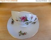 Vintage Teacup - Porcelain Pink Roses - Tea Cup - Cottage Chic - Paris Apartment