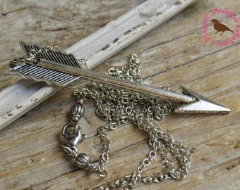 Long Silver Arrow Pendant Necklace, Silver Arrow Necklace, Long Silver Layering Necklace, Long Boho, by MagpieMadnessJewelry on Etsy