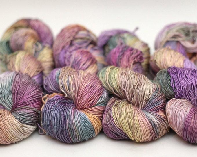 "Hand dyed Yarn, merino silk, Lilli sock yarn, ""Dried Petals"""
