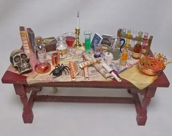 Dolls house Miniature Electric Lit Filled Large Wizard / Witch / Doctor / Apothecary Table